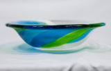 Blue/Green Fused Glass Wave Bowl —The C Glass Studio