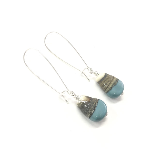 Shore break Sterling Silver Earrings —The C Glass Studio