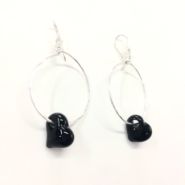 Black Heart Sterling Silver Earrings —The C Glass Studio