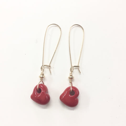 Gold Filled Glass Heart Earrings