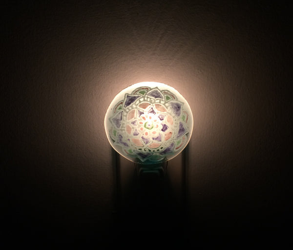 Mandala Light Blue, Blue, Purple, Green and Pink Night Light —The C Glass Studio