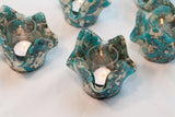 Fused Glass Candle Holder (Aqua and Cream) —The C Glass Studio