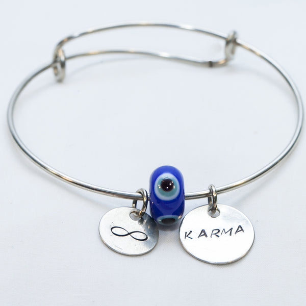 Dark Blue Karma Evil Eye Bead with Infinity symbol and Karma Charm Wire Bracelet —The C Glass Studio