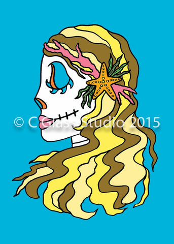 Mermaid Day of the Dead —The C Glass Studio