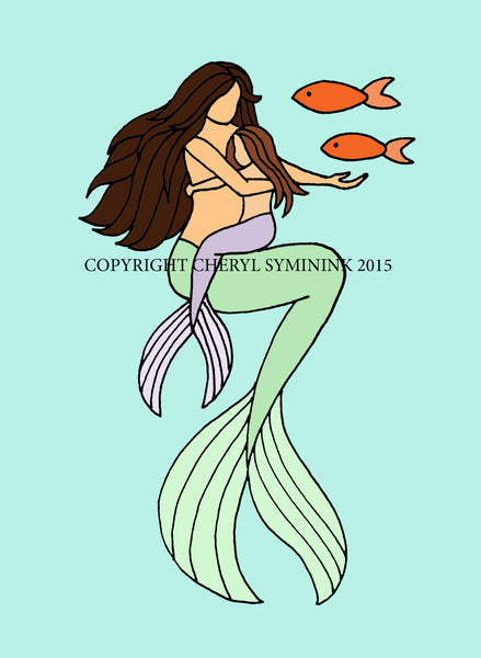 Mermaid with Merbaby hugs —The C Glass Studio