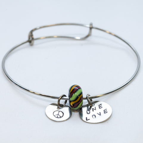 Green/Yellow/Red Glass Bead with Peace Symbol and One love Charm Wire Bracelet —The C Glass Studio