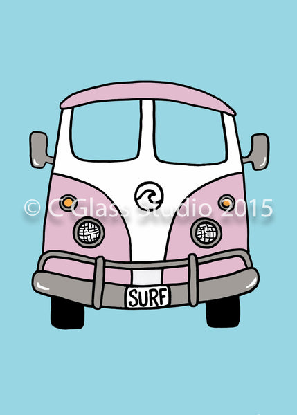 VW Surf Bus (Pink) —The C Glass Studio