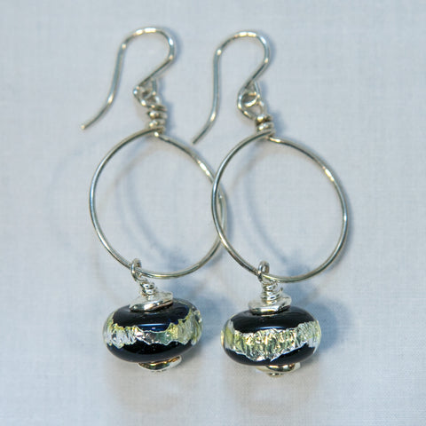 Black Foil Bead Earrings —The C Glass Studio