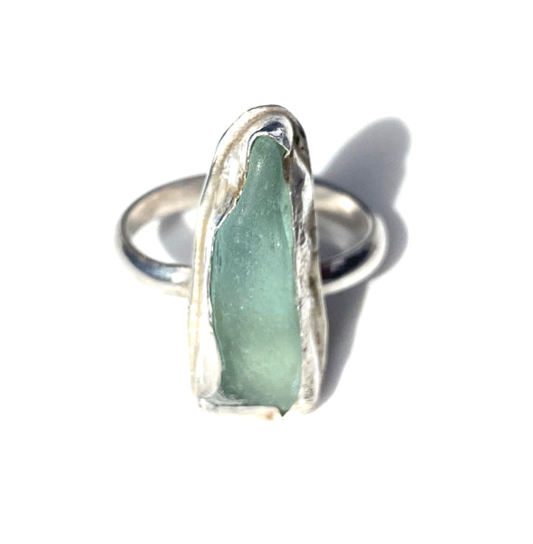Authentic Long Aqua Sea Glass Ring —The C Glass Studio