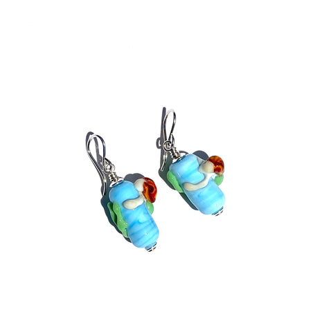 Mermaid glass bead earrings