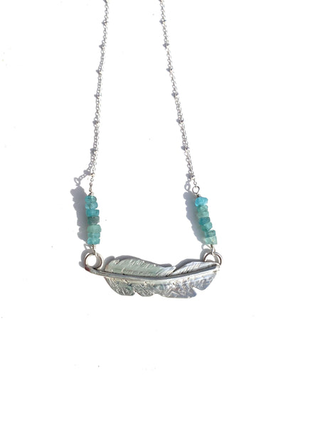 Sterling silver feather necklace —The C Glass Studio
