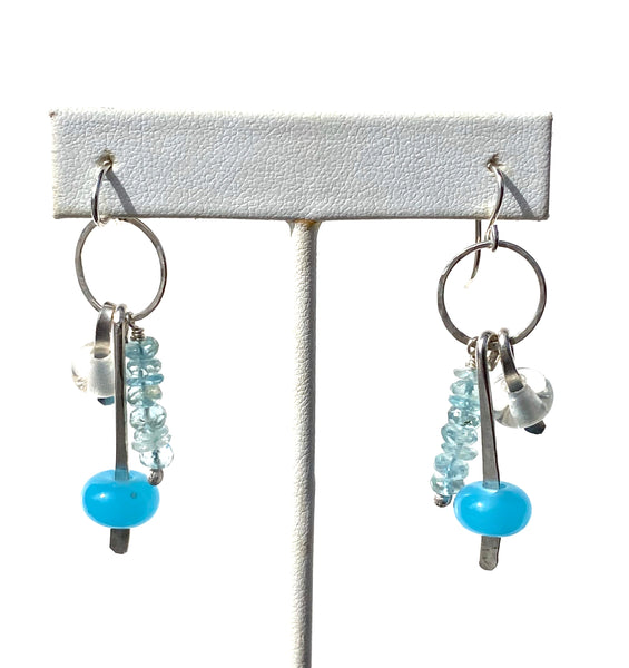 Handmade glass bead earrings with aquamarine and sterling silver —The C Glass Studio