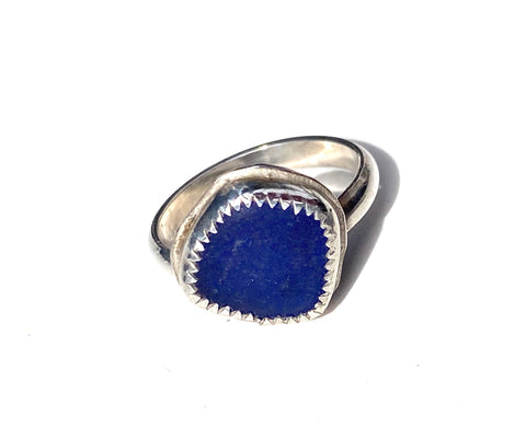 Dark Blue Authentic Sea Glass Ring —The C Glass Studio