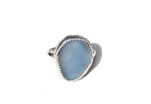 Periwinkle authentic sea glass ring —The C Glass Studio