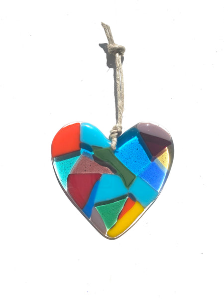 Fused glass rainbow hearts