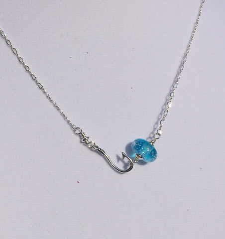Fish hook Necklace with Beach Sand Handmade glass bead (Light Aqua) —The C Glass Studio