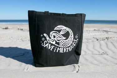 Save the Mermaids Canvas Tote —The C Glass Studio