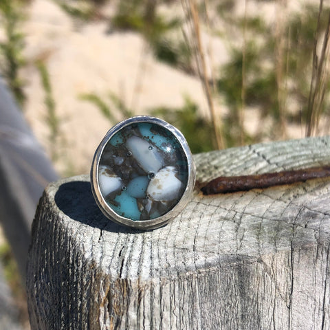 Fused Glass Sterling Silver Ring —The C Glass Studio
