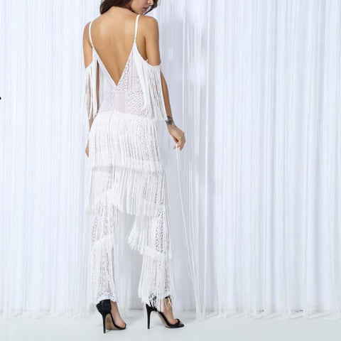 Mindy Free Floater Geometric Jumpsuit- White