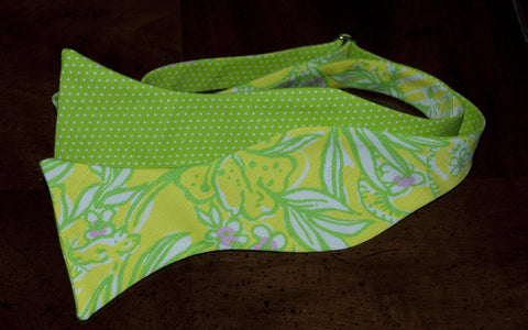 Designer Yellow and Green with Pink Flowers Bow Tie