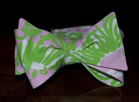 Designer Pink and Green Lion Bow Tie
