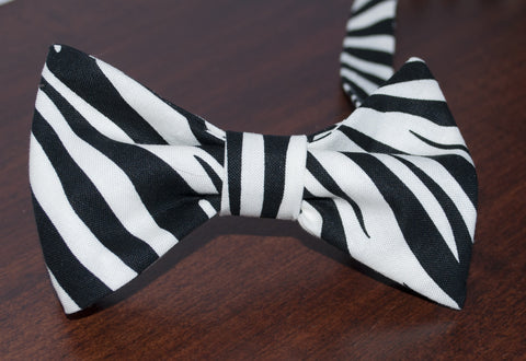Zebra Pattern Bow Tie - Mens