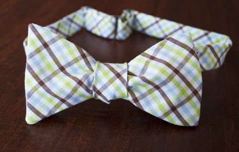 Brown blue and green check bow tie