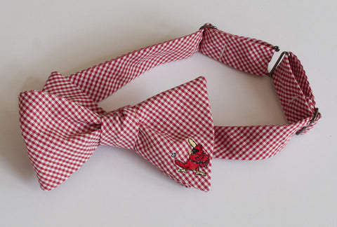 Cardinal with Bat Embroidered Bow Tie - red