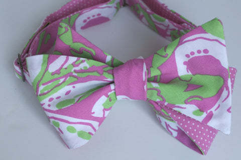 Designer Dark Pink & Green Bow Tie