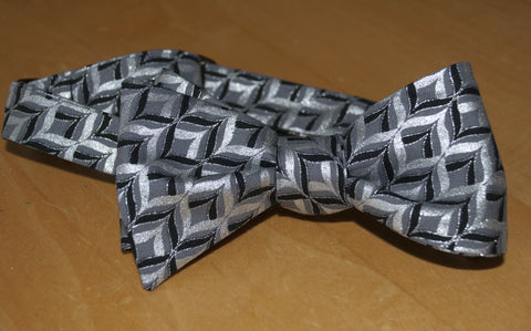 Silver black chevron metallic bow tie