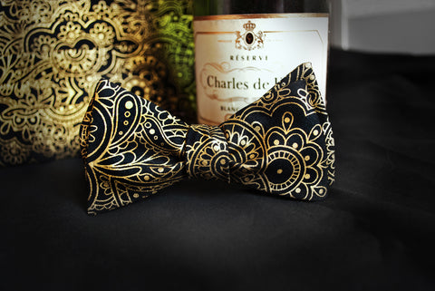 gold black bow tie