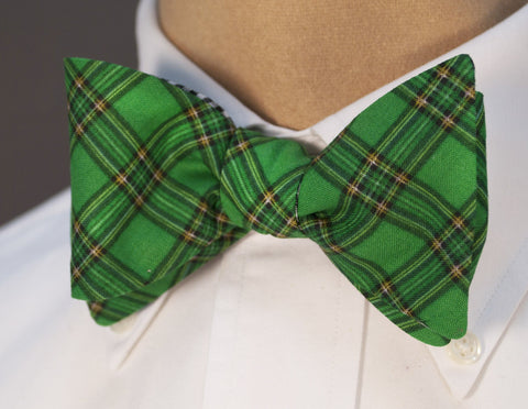 Green Plaid Reversible Bow Tie