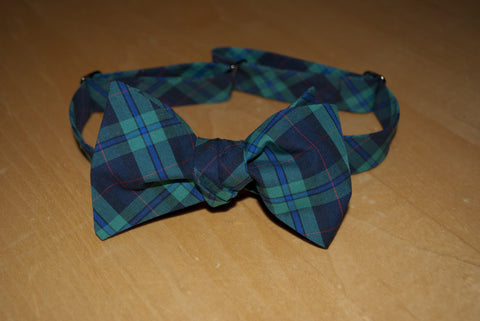 Kelly Green and Navy Plaid Bow Tie