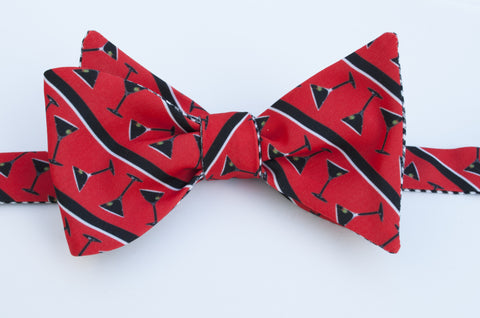 Martini Glasses Bow Tie - red with black  stripe
