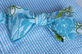 Designer Turquoise & Light Blue Dogwood Textured Bow Tie