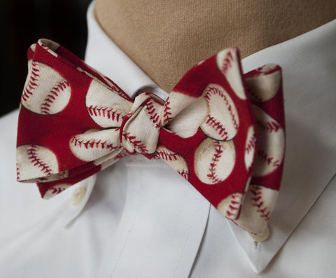 Baseball Bow Tie - red
