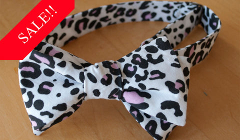 Black with Pink Cheetah Bow Tie - Mens