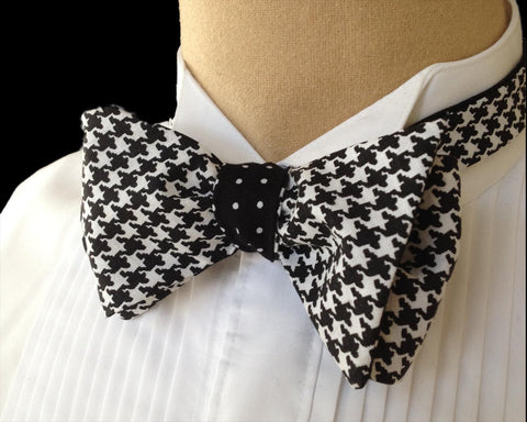 Black Hounds Tooth Bow Tie