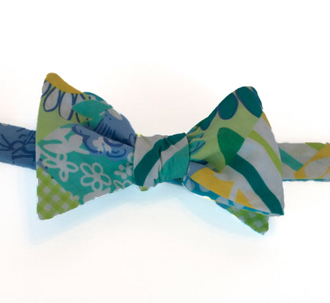 Designer Blue Patch Bow Tie