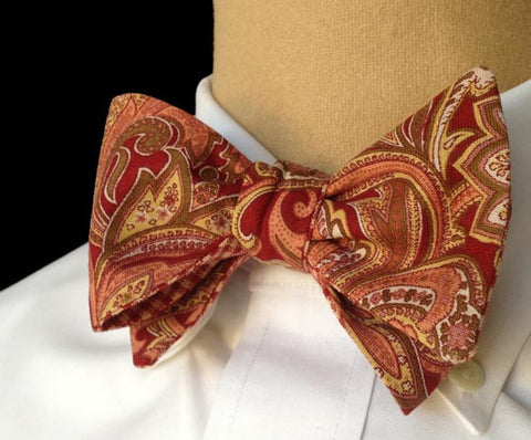 Brick red paisley bow tie