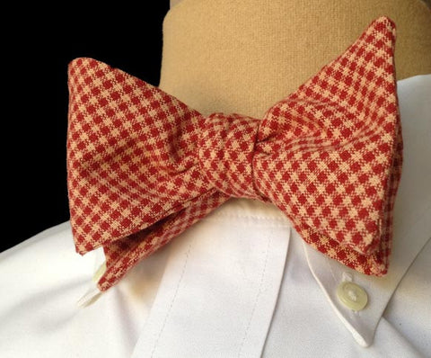 Haberdashery Brick Red Plaid Bow Tie