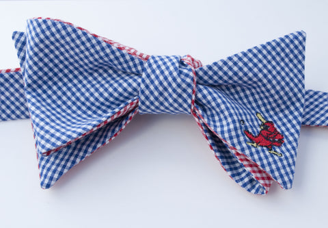 Cardinal with Bat Embroidered Bow Tie - blue