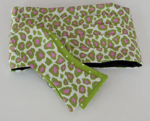 Green with Pink Cheetah Bow Tie