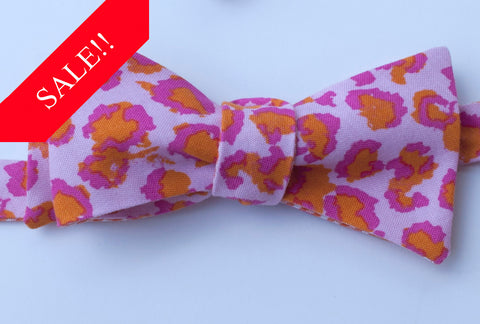 Orange with Pink Cheetah Bow Tie - Mens