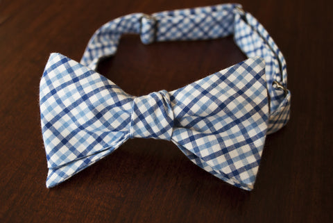 lt blue and dark blue plaid bow tie