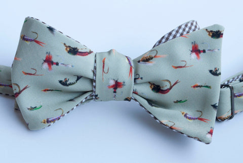 Fishing Flies Bow Tie - sage green