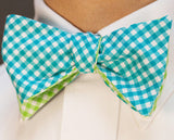 Check Bow Tie - Reversible turquoise and green