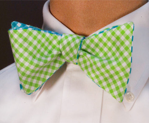 Tattersall Check Bow Tie - green