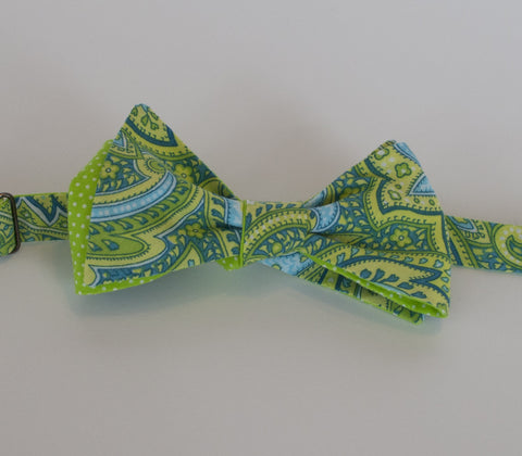 Turquoise and Green Paisley bow tie