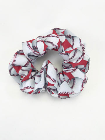 Baseballs on Red - Scrunchie